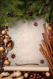 焼くための食材とクリスマスの背景