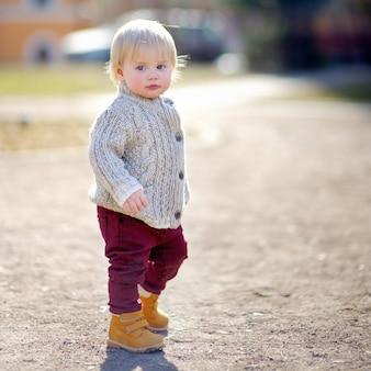 暖かい春の日に野外を歩いて美しい幼児男の子