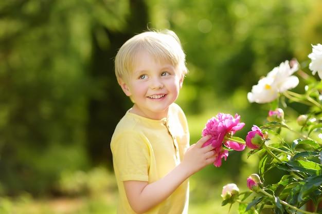 日当たりの良い家庭菜園で驚くほどの紫と白の牡丹を見てかわいい男の子