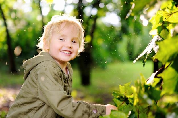 Портрет милый счастливый маленький мальчик, с удовольствием в парке летом после дождя