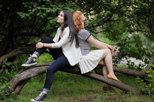 Две красивые молодые женщины сидят на дереве
