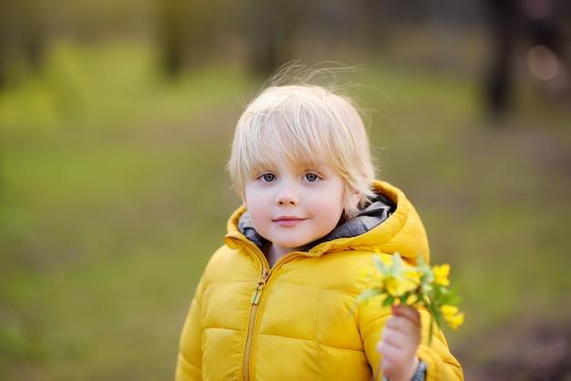 かわいい男の子は公園で野生の花を選ぶ