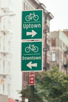 ニューヨークの自転車サイン