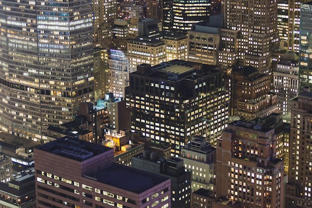 Вид с воздуха на нью-йорк ночью