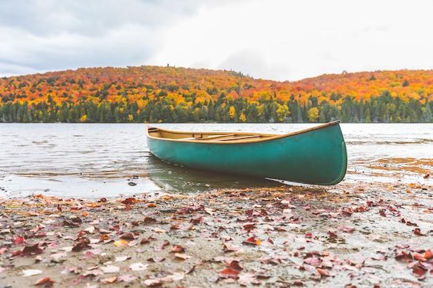 湖のほとりにカヌー、秋の自然の設定