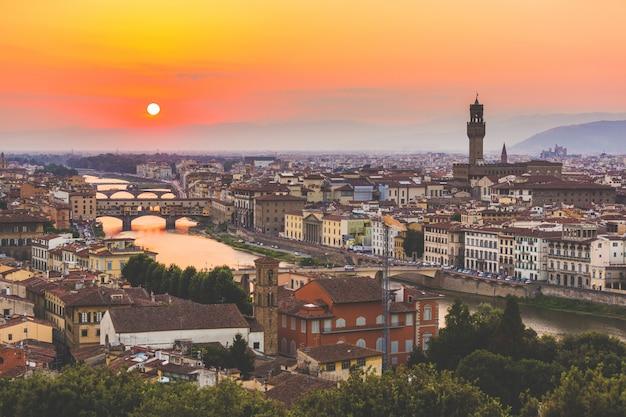 日没時のフィレンツェのパノラマビュー