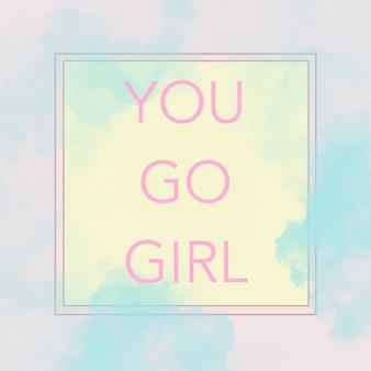 Текст вас девушки на современных абстрактных пастельных розовых, желтых и синих тонах.