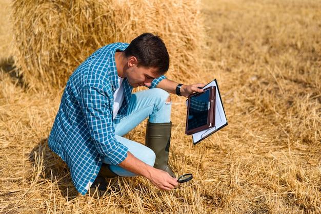 Человек сидит с планшетом и увеличительное стекло на поле с сеном, контроль, проверка, анализ, исследование