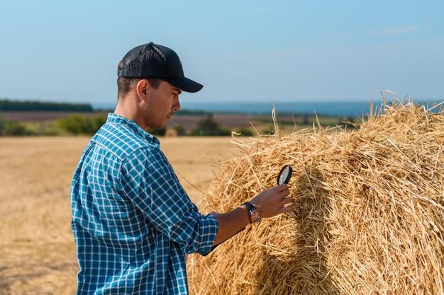 Человек-агроном в кепке в поле с планшетом и увеличительным стеклом оценивает урожай сена