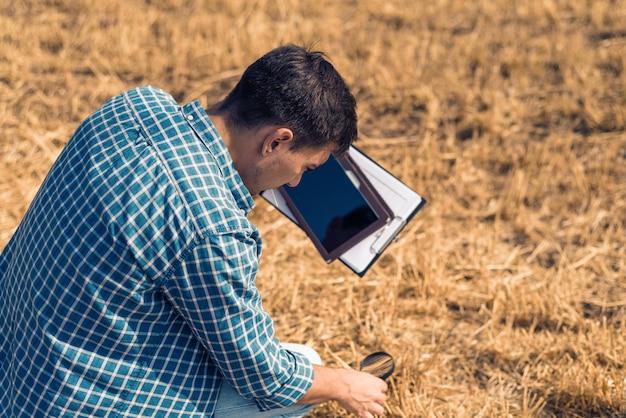 Человек фермер агроном сидит с планшетом и увеличительным стеклом на поле с сеном, контроль, проверка, анализ, исследование