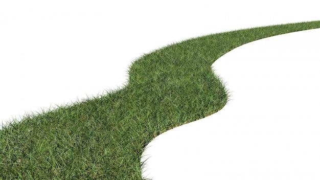 曲がりくねった道の草