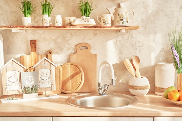 北欧のロフトスタイルのキッチンの装飾