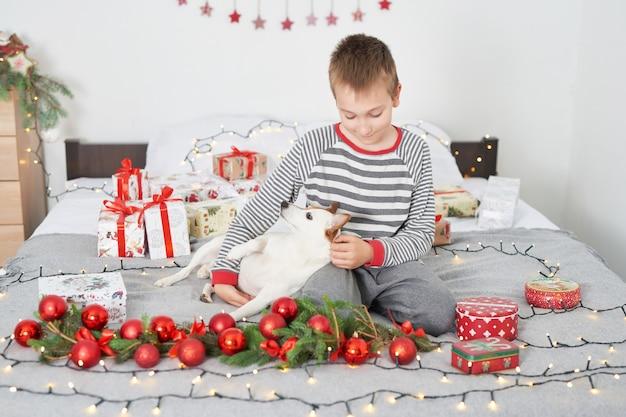 新年の装飾が施されたベッドで犬ジャックラッセルと遊ぶ少年