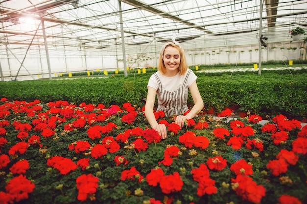 美しい若い微笑の女の子、温室で花を持つ労働者