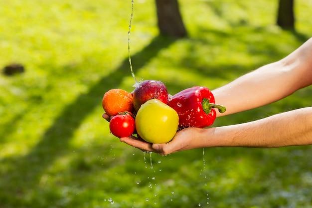 ぼやけた緑の背景に果物と野菜を保持している農家の手のクローズアップ