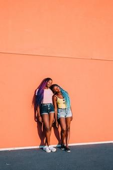 Две молодые красивые черные женщины на открытом воздухе, наслаждаясь солнцем
