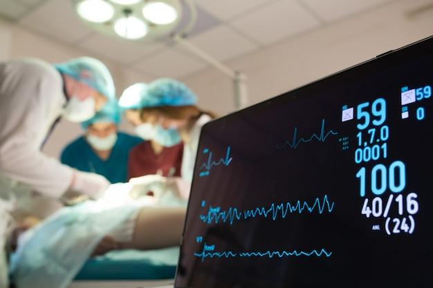 手術室の患者の心電図と飽和酸素のモニタリング。