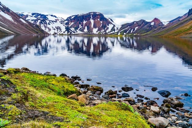 Вулканический ландшафт красочной горы и красивого озера