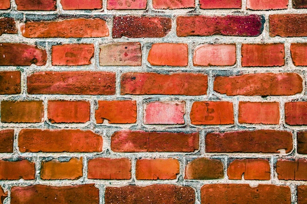 古いヴィンテージの赤レンガの壁の背景、穀物のテクスチャを適用