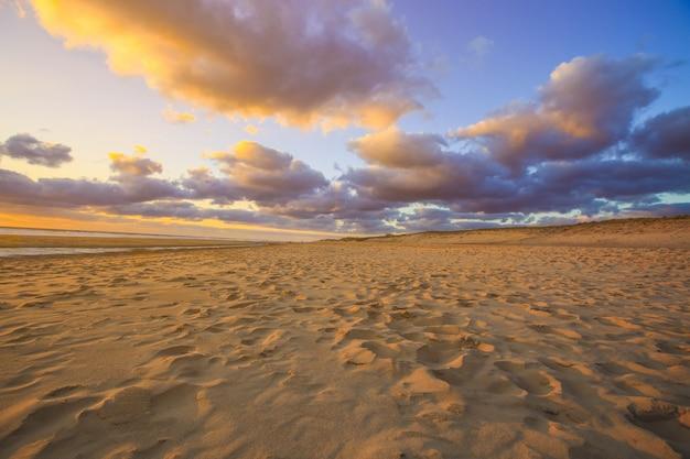 自然の背景のサンセットでビーチの砂丘