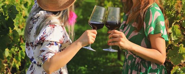 Закройте вверх на руках женщин держа красные бокалы на винограднике во франции