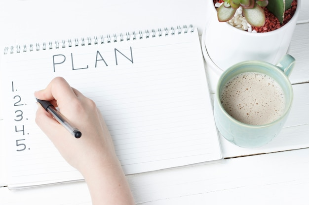 メモ帳、クローズアップ、平面図、計画の概念、目標設定の碑文計画