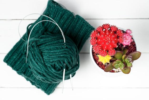 ニット素材、編み針、白い背景に、トップビューでかせ