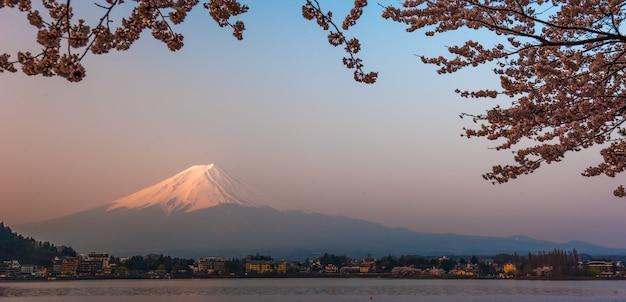 Вид на гору фудзи с озера кавагутико, япония, с цветами вишни