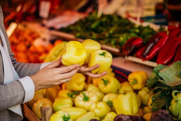 Проведение овощей на рынке. овощи в руках крупным планом.