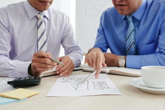 Обрезанные бизнесмены, вырабатывающие стратегию с помощью бизнес-диаграммы