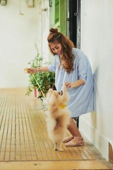 Играя с домашним животным