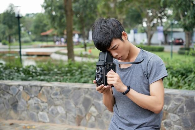 Человек фотографировать