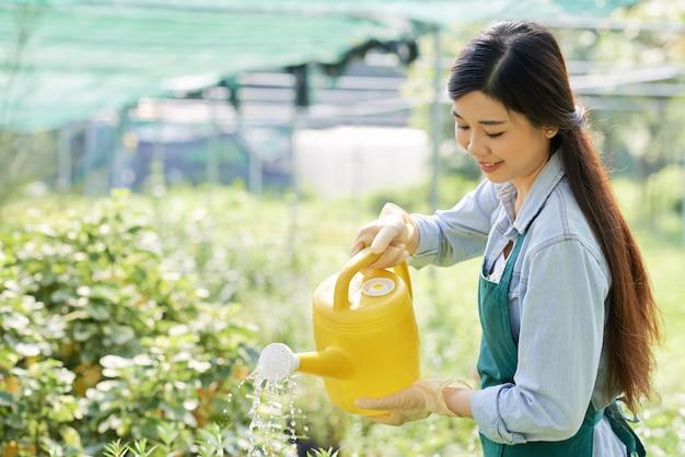 Садовник поливает растения