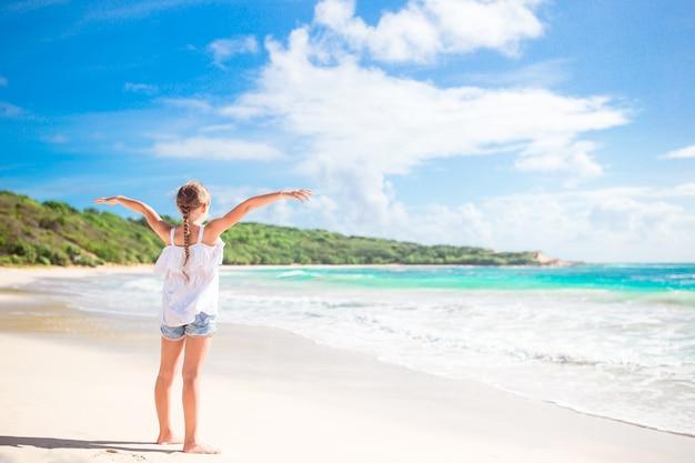 熱帯のカリブ海の島で野生のエキゾチックなビーチでのかわいい女の子