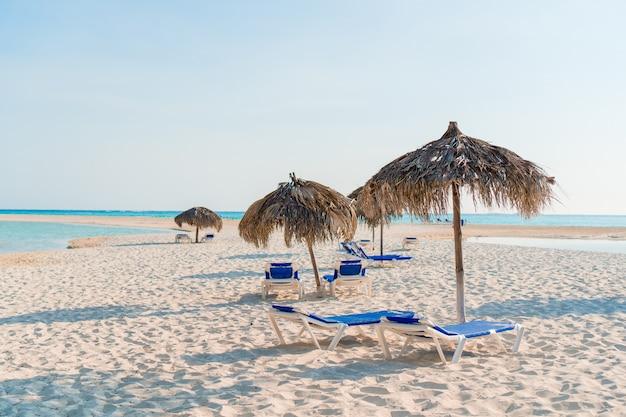 Идиллический тропический пляж с белым песком, бирюзовой океанской водой и большими пальмами