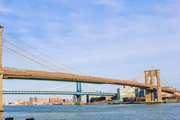ニューヨーク市から見た川に架かるブルックリン橋。