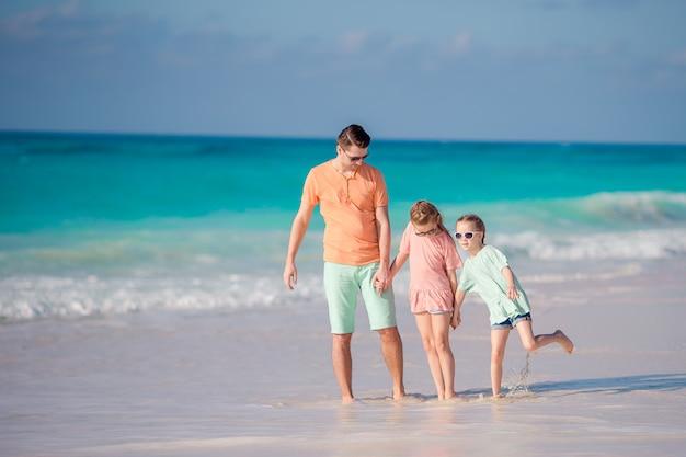父と子供たちはビーチの夏休みを楽しんで