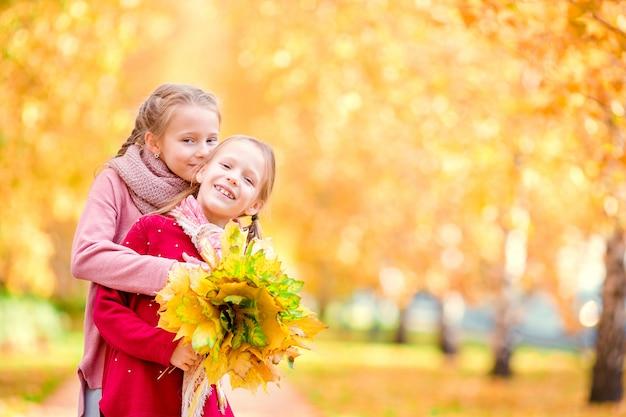暖かい秋の日に屋外で幸せな少女。秋の子供たち