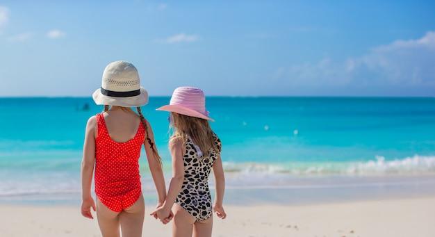 白いビーチで海を見て二人の少女の背面図