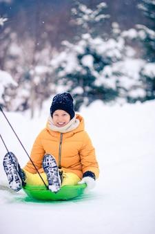 Очаровательны маленькая счастливая девушка санках зимой снежный день.