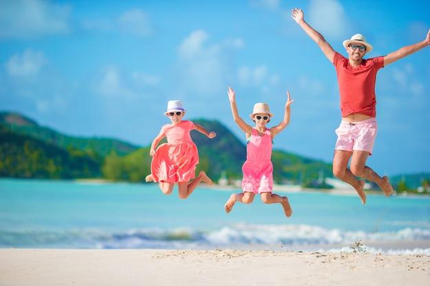 父と子供たちはビーチで夏の熱帯の休暇を楽しんで