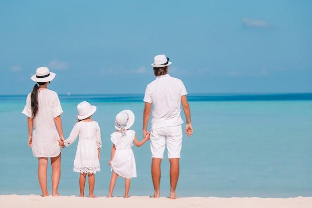 夏休みの間にビーチで幸せな家族