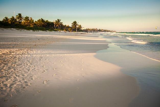 メキシコの熱帯のビーチの素晴らしいカラフルな夕日