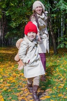 暖かい晴れた日に黄色の秋の森を歩くと楽しい愛らしい娘と若い母親