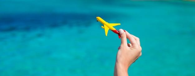 ターコイズブルーの海の背景に小さな自家製飛行機
