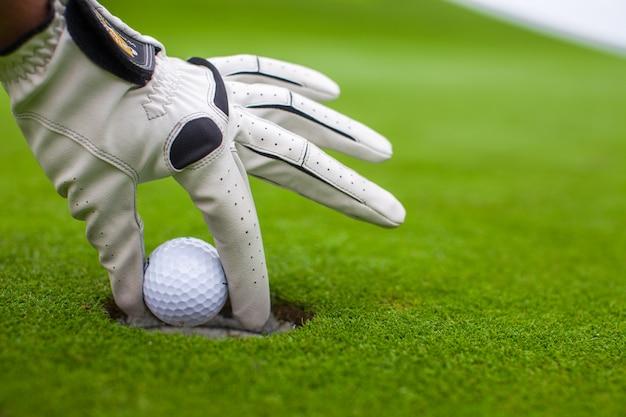 緑の野原の穴にゴルフボールを置く男の手