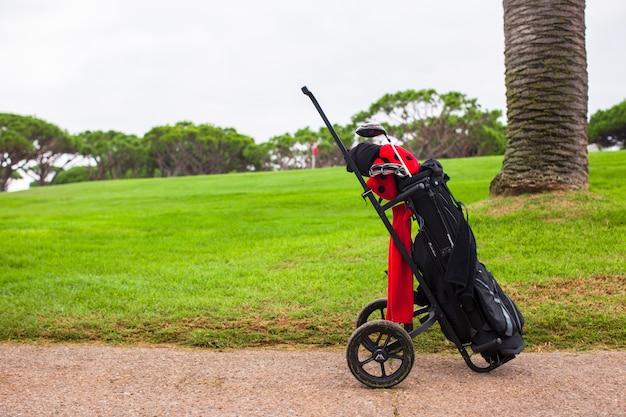 緑の完璧なフィールドにゴルフバッグのクローズアップ