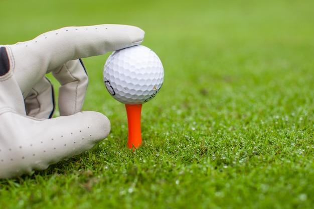 緑の芝生と美しいゴルフコース上のティーにゴルフボールを置く手