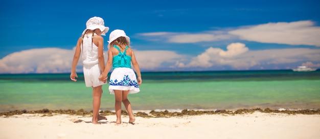 白いビーチで海を見て二人の妹の背面図