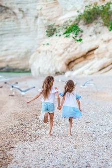 少し幸せな面白い女の子は、一緒に遊んで熱帯のビーチでたくさんの楽しみを持っています。晴れた日に雨が海に